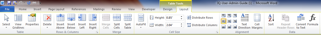Word_Table Tools_Layout Tab